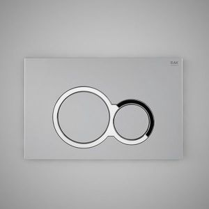 RAK Flush Plate With Polished Chrome Surrounding Round Push Plates - Matt Chrome