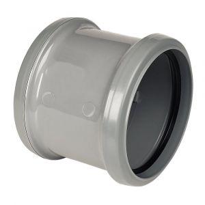 Grey 110mm Pushfit Soil Double Socket Coupler