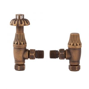Hudson Reed Knightsbridge Thermostatic Angled Radiator Valve Pack - Antique Brass-RV006