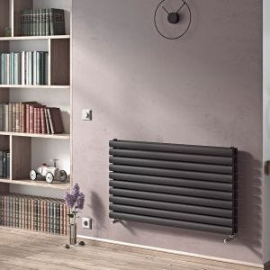 Eucotherm Anthracite Nova Duo Horizontal Radiator 600mm x 410mm
