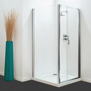 Optima Pivot Door White - Clear Glass - 700mm