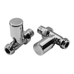 Pair Modern Roma Straight Chrome Radiator Valves