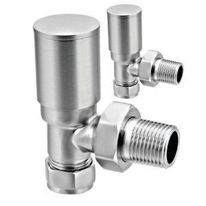 Reina Portland Angled Brushed 15mm Valves - Pair