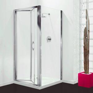 Coram Premier Bi-Fold Door - Chrome - Clear Glass - 760mm