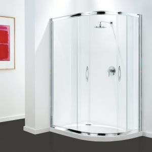 Coram Premier Offset Quadrant - Chrome - 1200mm x 800mm - Clear Glass