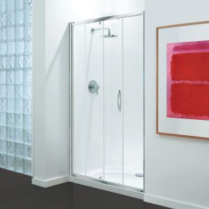 Coram Premier Sliding Door - Chrome - Clear Glass - 1000mm