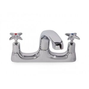 Roma Cross Top 2 Tap Hole Sink Mixer with Cast Spout