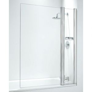 Coram 1050mm Square Bathscreen with panel - White