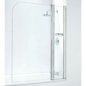 Coram 800mm Compact Curved Bathscreen with panel - Chrome