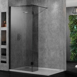 Aquadart Walk-In Wetroom 10 Shower Panel 600mm - Smoked Glass