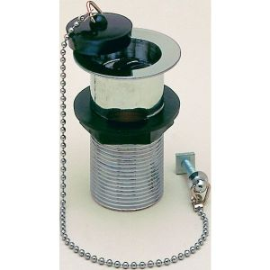 Unslotted Metal Basin Waste with Black Plastic Plug & Chain