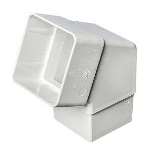 White 68mm Square Rain Water 112 Degree Offset Bend