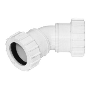 White 32mm Universal Waste 45 Degree Bend