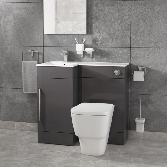 Cassellie Maze Compact Anthracite L Shaped Basin Unit & Toilet Suite