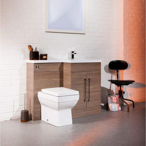 Cassellie Maze Medium Oak L Shaped Basin Unit & Toilet Suite