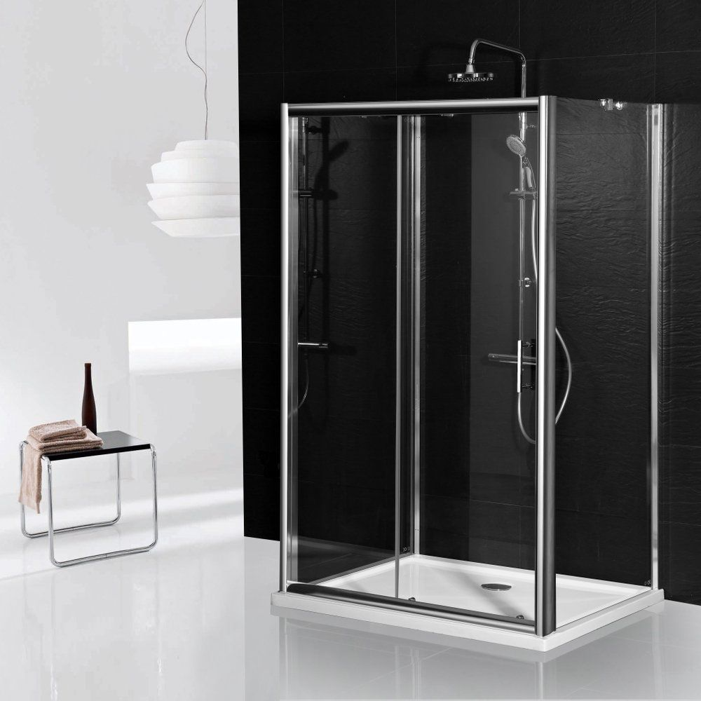 Aqua-I 3 Sided Shower Enclosure - 1400mm Sliding Door and 760mm Side ...