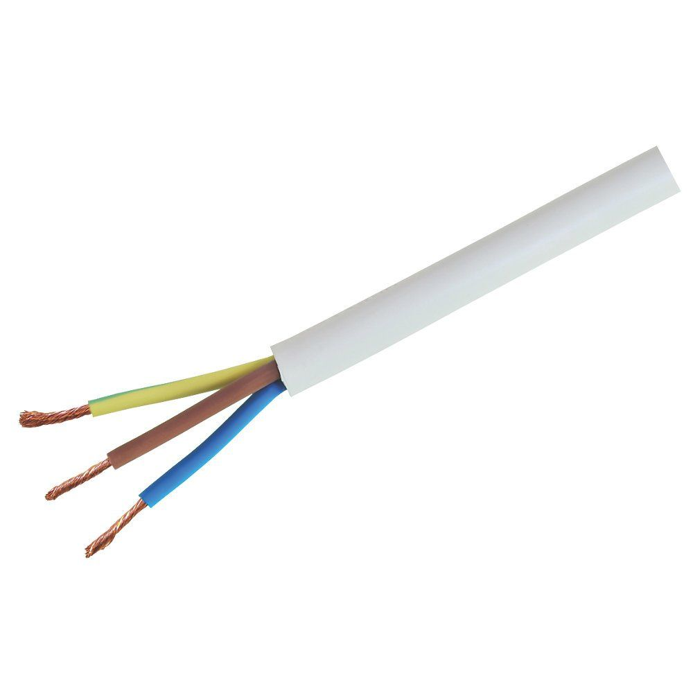 3093Y White Round 3 Core 1.5mm Heat Resistant Cable - 1mtr Length