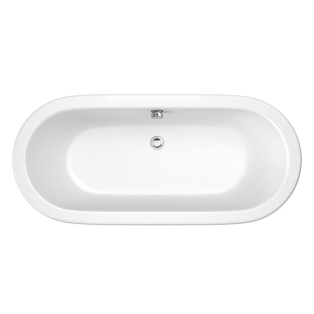 Trojan Savoy 1800mm x 800mm Double Ended Freestanding Bath - Brushed ...