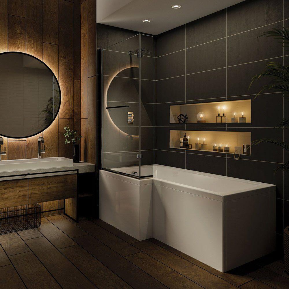 Trojan Solarna 1500mm x 850mm L Shaped Shower Bath - Left Hand