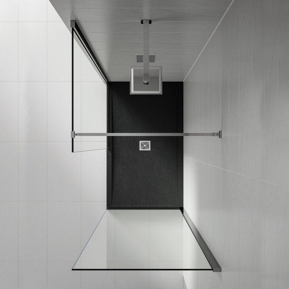 Black Aqualavo 1000mm x 900mm Slate Effect Shower Tray