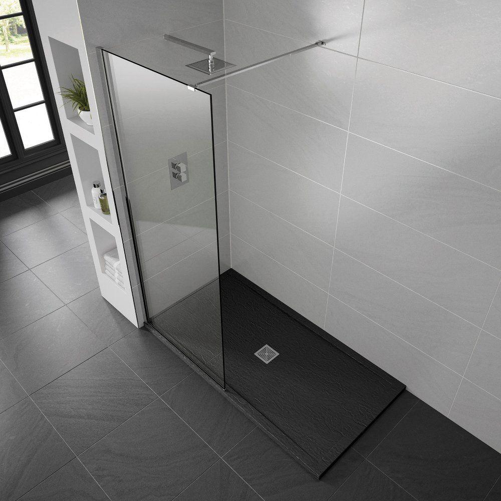 Black Aqualavo 1500mm x 900mm Slate Effect Shower Tray