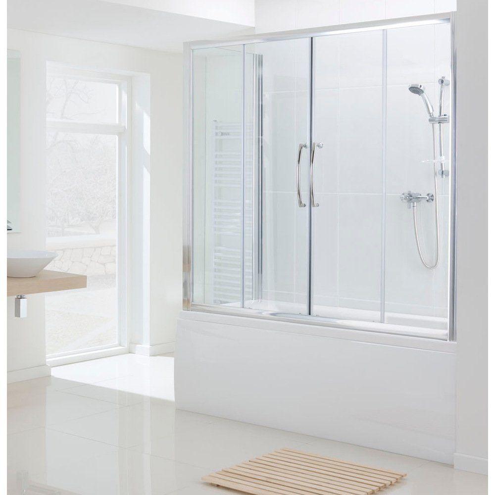 Lakes Classic Silver Semi Frameless Over Bath Double Slider Door