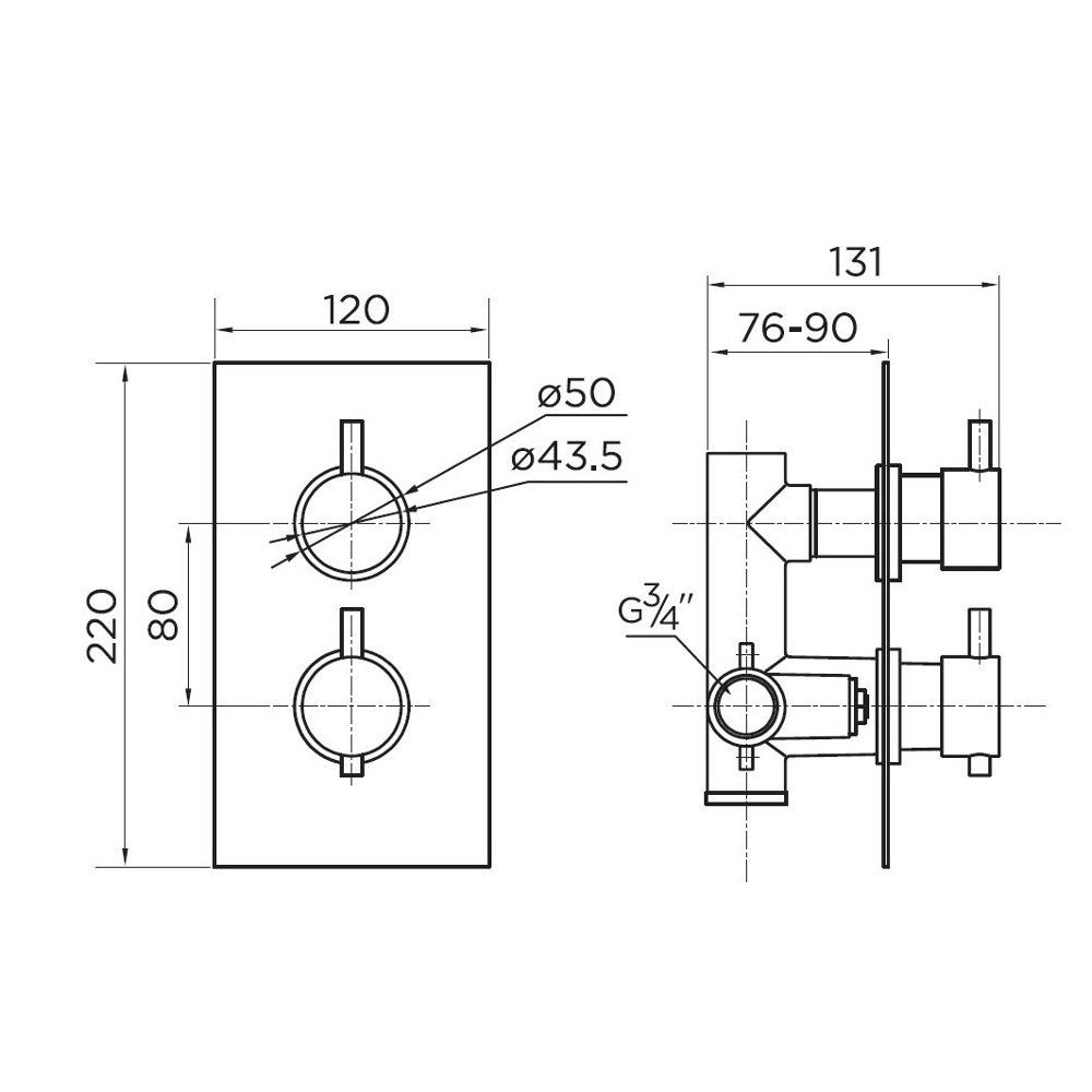 Niagara Equate Round Twin Concealed Shower Valve Diagram