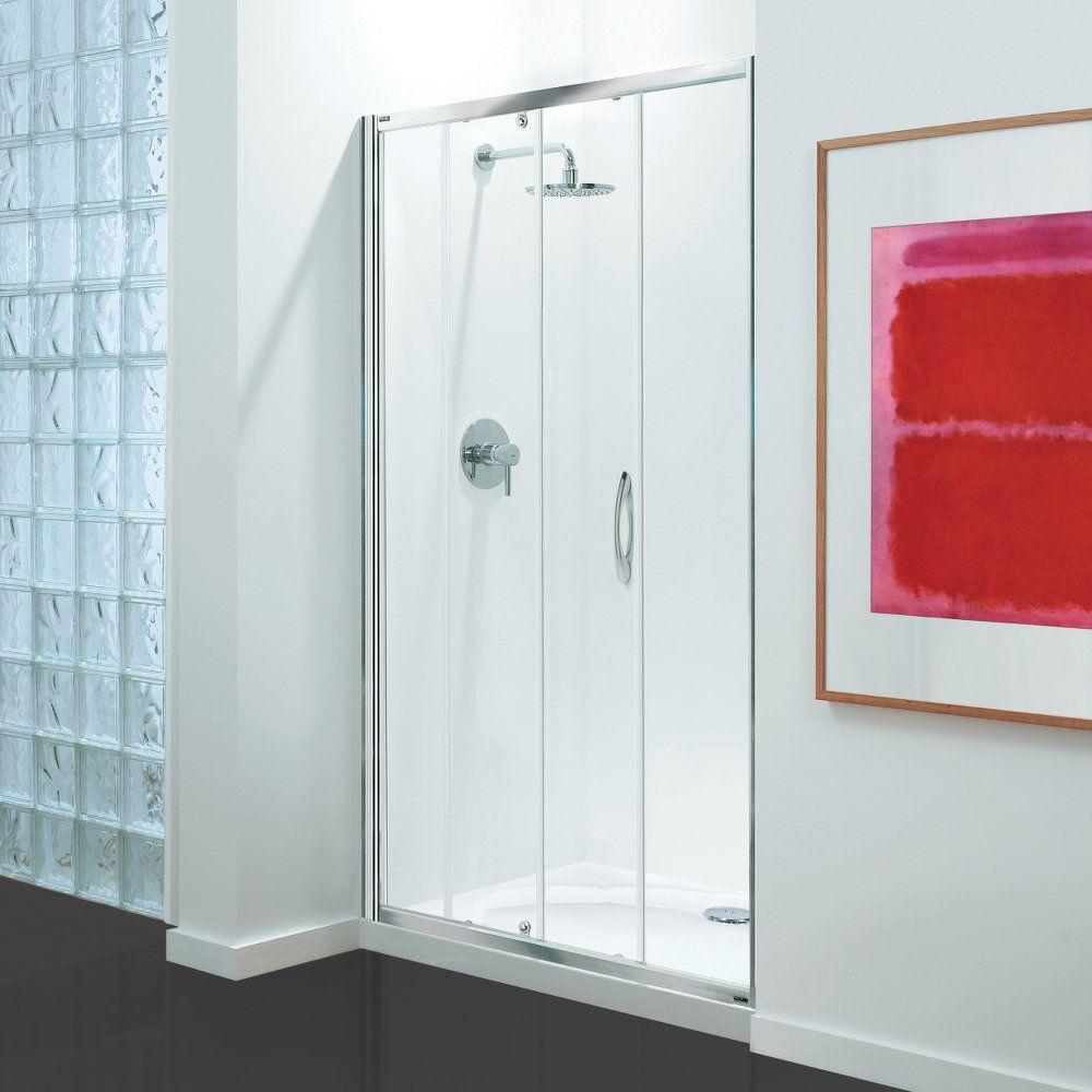 Coram Premier Sliding Door Chrome Modesty Glass 1200mm