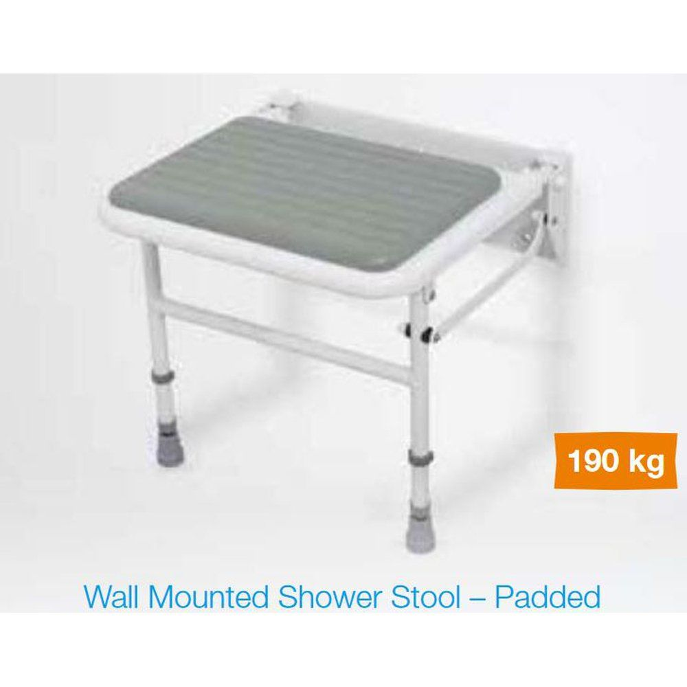 White / Grey Plastic Wall Mounted Padded Shower Seat with Legs - Up ...