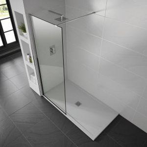White Aqualavo 1100mm x 800mm Slate Effect Shower Tray