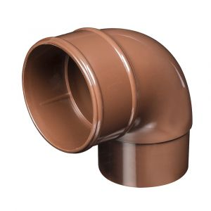 Brown 68mm Round Rain Water 90 Degree Offset Bend