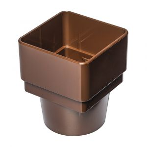 Brown 68mm Square To Round Rain Water Connector