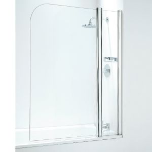 Coram 1050mm Curved Bathscreen with panel - Chrome