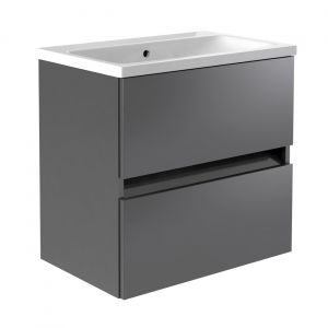 Kartell Ikon Grey 600mm Wall Hung Basin Unit with Drawers