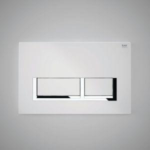 Rak Flush Plate With Polished Chrome Surrounding Rectangular Push Plates - White