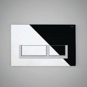 Rak Flush Plate With Matt Chrome Surrounding Rectangular Push Plates - Polished Chrome