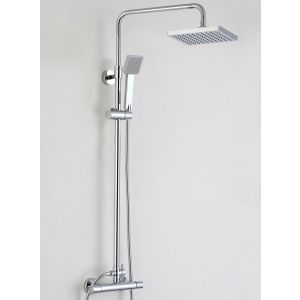 Medena Thermostatic Bar Shower with Square Fixed Head and Rigid Riser Rail