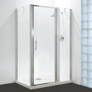 Coram Premier Inline Panel - Chrome - Clear Glass  - To fit 1200mm Tray