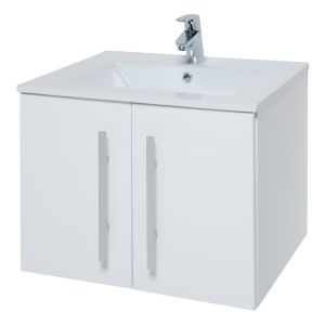 Kartell Purity White 600mm Wall Hung Basin Unit with Doors