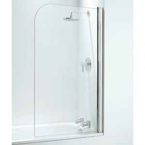 Coram 800mm Curved Bathscreen - White