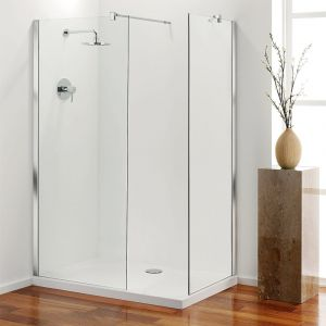 Coram Stylus End Shower Panel - Clear Glass - Chrome - 700mm