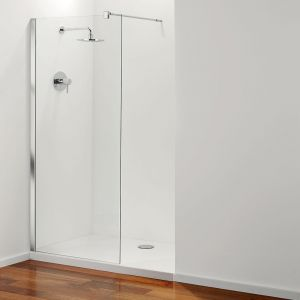 Coram Stylus Front Shower Panel - Clear Glass - Chrome - 900mm