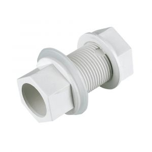 White 21.5mm Solvent Overflow Straight Tank Connector