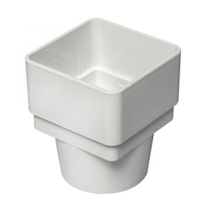 White 68mm Square To Round Rain Water Connector